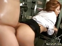 Gorgeous asian nurse gets a nice creampie